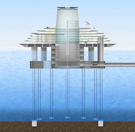 アース・ポートの主要部は海上に浮かびます